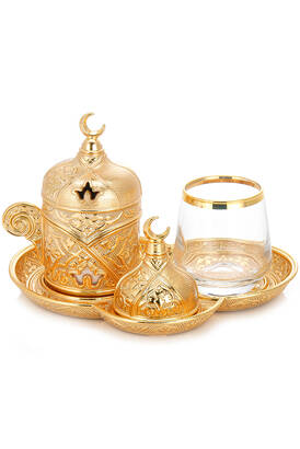 İhvan - Sena Ziyafet Tek Kişilik Kahve Sunum Seti Gold Kutulu
