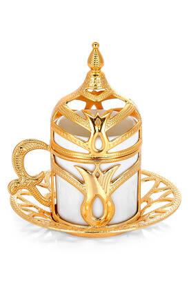 İhvan - Seperatör Desen 6 lı Kahve Sunum Fincan Seti Gold Renk