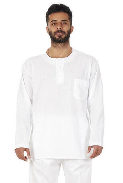 Sıfır Yaka 3 Düğmeli Şilebezi Hac Umre Yazlık Gömlek Beyaz