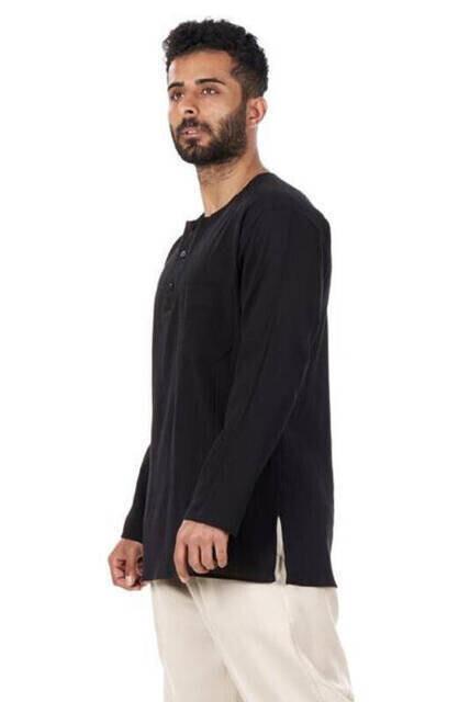 Sıfır Yaka 3 Düğmeli Şilebezi Hac Umre Yazlık Gömlek Siyah