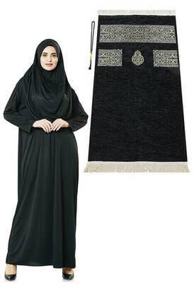 İhvan - Siyah Namaz Elbisesi - Kabe Motifli Seccade ve Tesbih - İbadet Seti