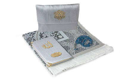 İhvan - Slub Fabric Covered Yasin Book - Bag Size - Name Special Plate - Prayer Rug - Rosary - Marsupial - Gray Color - Mevlid Gift