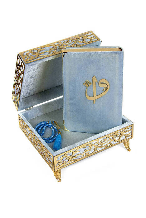 Special Elif Vav Plexi Decorated Gift Velvet Covered Footed Quran with Chest Blue)