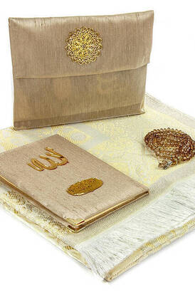 İhvan - Special Name Printed Fabric Coated Yasin Book For Father's Day Seccadeli Rosary Marsupian Set - Cream Color