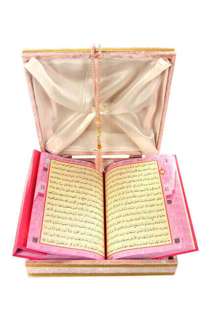 Special Velvet Boxed Quran and Pearl Rosary Set for Mother's Day