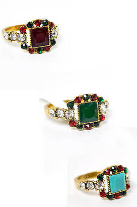 İhvan - Stone Embroidered Women's Ring 24 pcs-6126