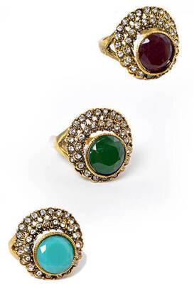 İhvan - Stone Woman Ring 24 pcs-6126