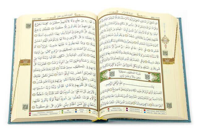 Tajwid Quran - Thermo Leather - Medium Size - Turquoise Color - Ayfa Publishing House - Computer Line