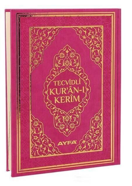 Tecvidli Kuran Karim - Thermo Leather - Rahle Boy - Computer Lined - Pink Color - Ayfa Publishing House