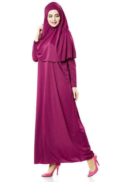 Tek Parça Namaz Elbisesi - Fuşya - 5015