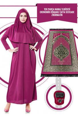 İhvan - Tek Parça Namaz Elbisesi - Fuşya- 5015 ve Seccade ve Zikirmatik - Üçlü Takım