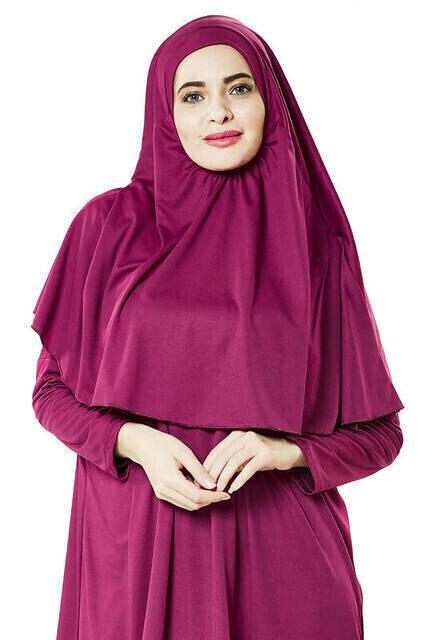 Tek Parça Namaz Elbisesi - Fuşya- 5015 ve Seccade ve Zikirmatik - Üçlü Takım