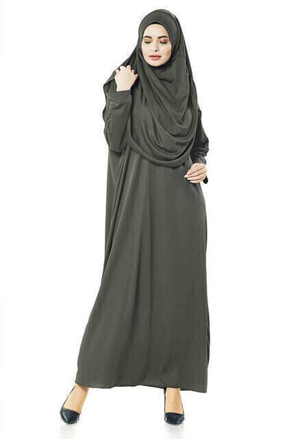 Tek Parça Namaz Elbisesi - Haki - 5015