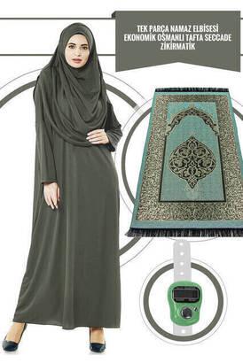 İhvan - Tek Parça Namaz Elbisesi - Haki - 5015 & Seccade & Zikirmatik - Üçlü Takım