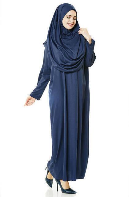 Tek Parça Namaz Elbisesi - Lacivert - 5015