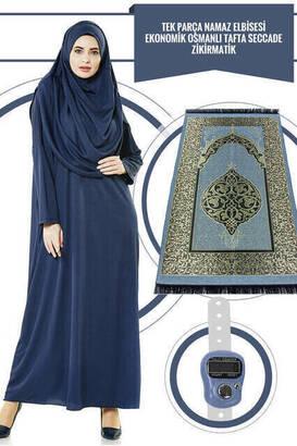 İhvan - Tek Parça Namaz Elbisesi - Lacivert - 5015 ve Seccade ve Zikirmatik - Üçlü Takım