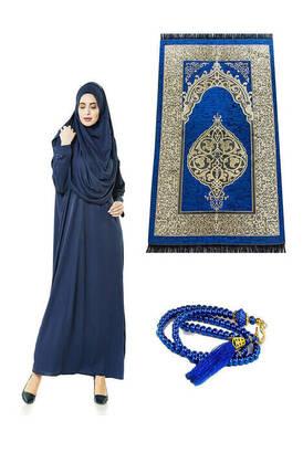 İhvan - Tek Parça Namaz Elbisesi - Seccade - Tesbih - İbadet Seti Lacivert