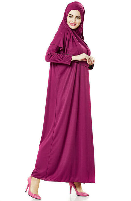 Tek Parça Namaz Elbisesi - Seccade - Tesbih - İbadet Seti - Fuşya