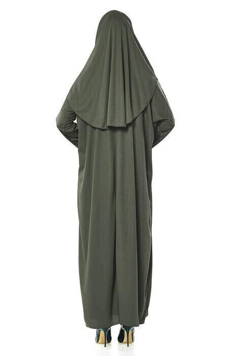 Tek Parça Namaz Elbisesi - Seccade - Tesbih - İbadet Seti - Haki
