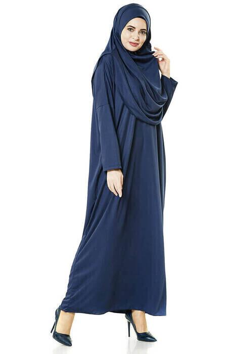 Tek Parça Namaz Elbisesi - Seccade - Tesbih - İbadet Seti - Lacivert