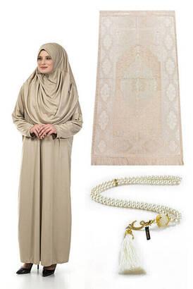 İhvan - Tek Parça Namaz Elbisesi - Seccade - Tesbih - İbadet Seti - Vizon