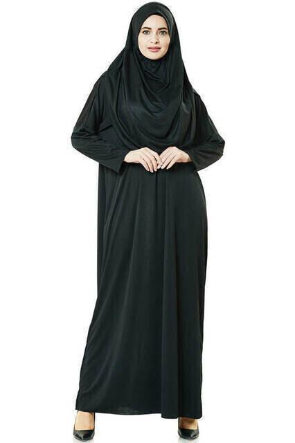 Tek Parça Namaz Elbisesi - Siyah - 5015 ve Seccade ve Zikirmatik - Üçlü Takım