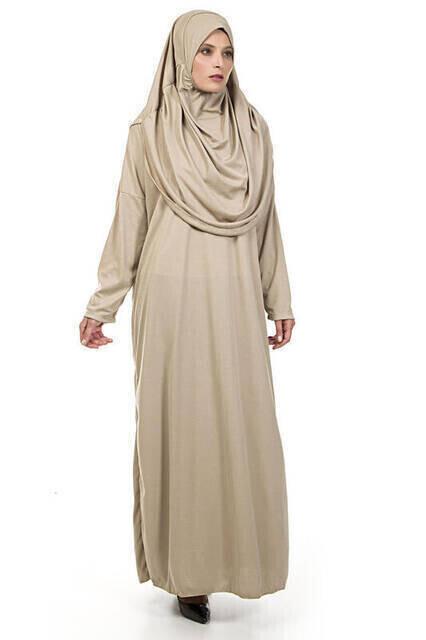 Tek Parça Namaz Elbisesi - Vizon - 5015