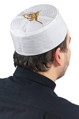 İhvan - Tuğra Desenli Kalıp Kumaş Takke Beyaz