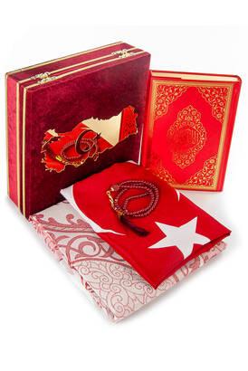 ihvanonline - Türkiye Haritalı Bayraklı Kadife Kutulu Kuran ve Seccade Seti Kırmızı