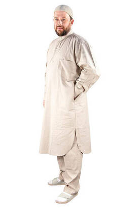 İhvan - Umrah and Hajj Outfit Afghan Suit - Cream