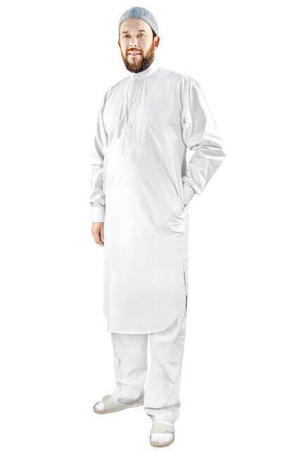 Umre ve Hac Kıyafeti Afgan Takımı - Alt ve Üst - Beyaz - 3172