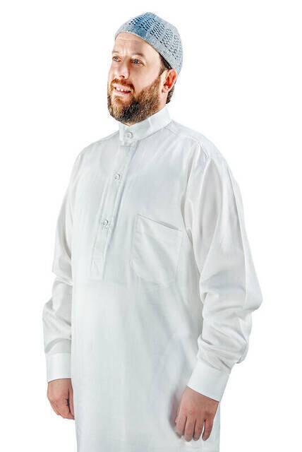Umre ve Hac Kıyafeti Afgan Takımı - Alt ve Üst - Beyaz