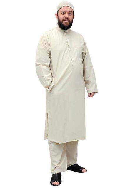 Umre ve Hac Kıyafeti Afgan Takımı - Krem - 1179