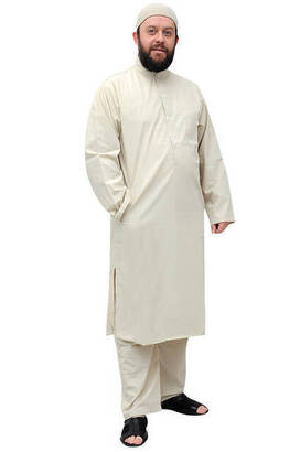İhvan - Umre ve Hac Kıyafeti Afgan Takımı - Krem - 1179