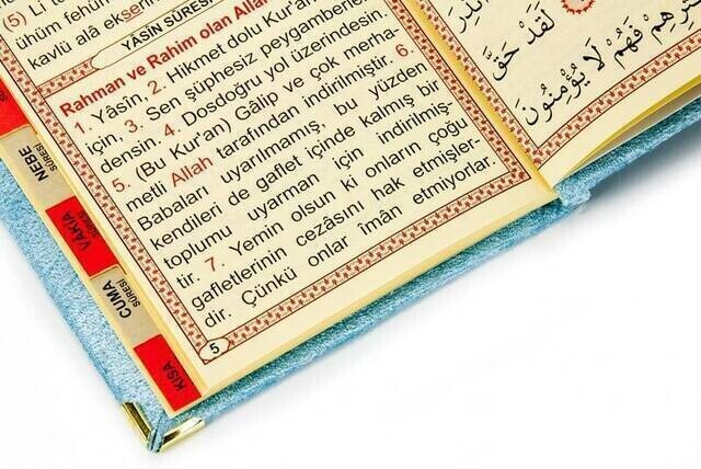 Velvet Coated Yasin Book - Bag Boy - Name Printed Plate - Rosary - Transparent Boxed - Blue - Gift Yasin Set
