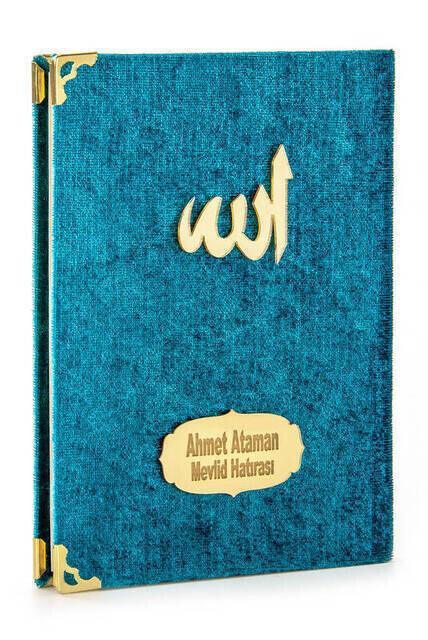 Velvet Coated Yasin Book - Bag Boy - Name Printed Plate - Rosary - Transparent Boxed - Petroleum Color - Gift Yasin Set