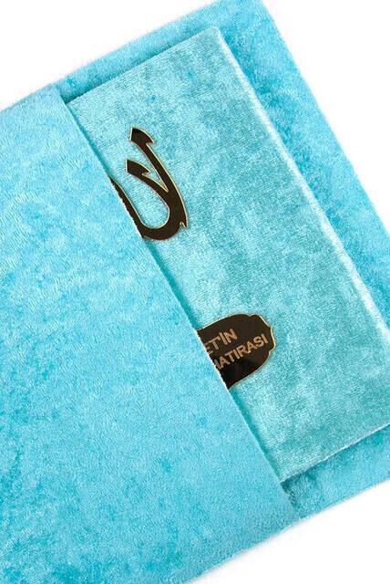 Velvet Coated Yasin Book - Bag Boy - Name Special Plate - Marsupeli - Blue Color - Religious Gift