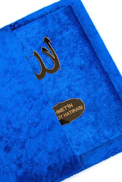 Velvet Coated Yasin Book - Bag Boy - Name Special Plate - Marsupeli - Navy Color - Religious Gift