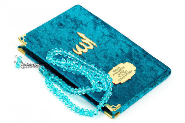 Velvet Coated Yasin Book - Bag Boy - Name Special Plate - Rosary - Boxed - Petroleum Color - Mevlid Gift