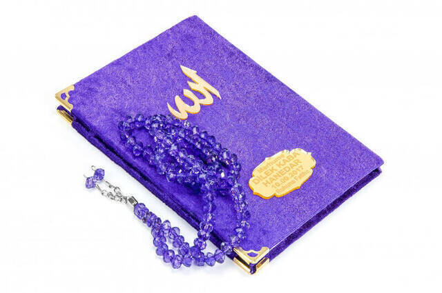 Velvet Coated Yasin Book - Bag Boy - Name Special Plate - Rosary - Boxed - Purple Color - Mevlid Gift