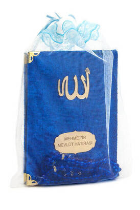İhvan - Velvet Coated Yasin Book - Bag Boy - Name Special Plate - Rosary - Keseli - Navy Color - Mevlut Gift
