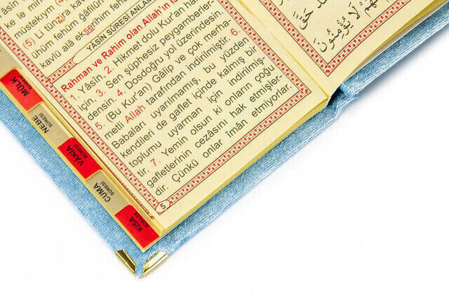 Velvet Coated Yasin Book - Bag Boy - Name Special Plate - Rosary - Marsupeli - Blue Color - Mevlut Gift