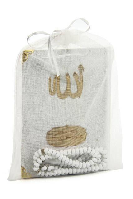 Velvet Coated Yasin Book - Bag Boy - Name Special Plate - Rosary - Marsupeli - White Color - Mevlut Gift