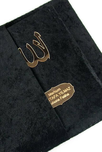 Velvet Coated Yasin Book - Bag Boy - Name Special Plate - Rosary - Marsupian - Boxed - Black Color - Mevlit Gift