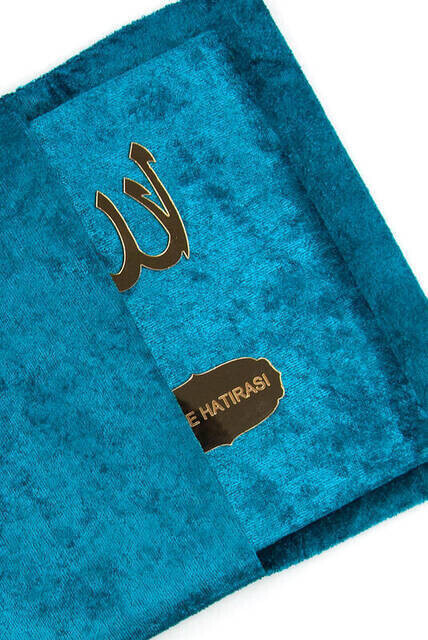 Velvet Coated Yasin Book - Bag Boy - Name Special Plate - Rosary - Marsupian - Boxed - Petroleum Color - Mevlit Gift