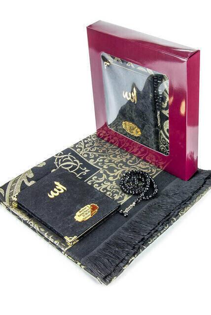 Velvet Coated Yasin Book - Bag Boy - Name Special Plate - Seccadeli - Rosary - Boxed - Black - Mevlut Gift