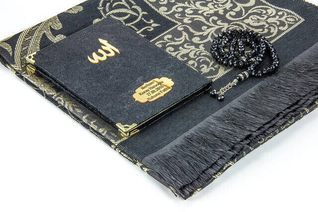 Velvet Coated Yasin Book - Bag Boy - Name Special Plate - Seccadeli - Rosary - Boxed - Black Color - Mevlid Gift