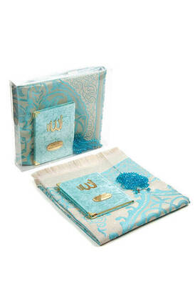 İhvan - Velvet Coated Yasin Book - Bag Boy - Name Special Plate - Seccadeli - Rosary - Boxed - Blue Color - Mevlid Gift Set