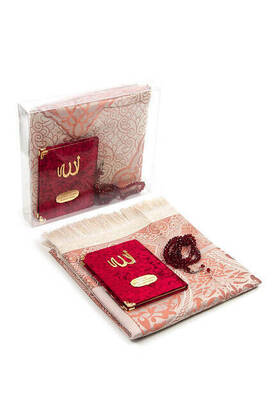 İhvan - Velvet Coated Yasin Book - Bag Boy - Name Special Plate - Seccadeli - Rosary - Boxed - Burgundy Color - Mevlid Gift Set