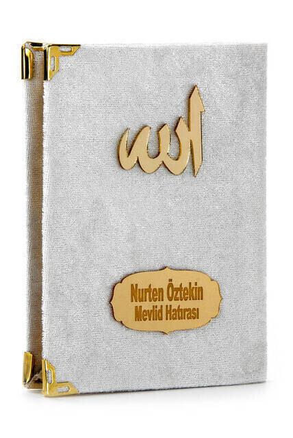 Velvet Coated Yasin Book - Bag Boy - Name Special Plate - Seccadeli - Rosary - Boxed - Cream - Mevlut Gift